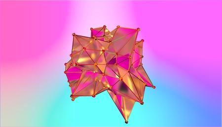 illustration of a shape metamorphosis of a polygonal semi transparent model. Multicolor polygonal 3D blot. 3D rendering Stock fotó