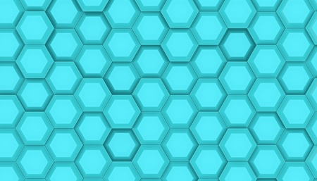 Illustration design of geometric hexagon surface. Grid pattern of waving hexagones. Cyan color 3D rendering