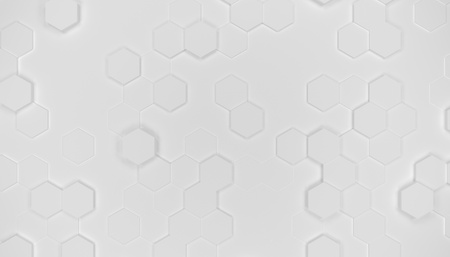 Illustration design of geometric hexagon surface. Grid pattern of waving hexagones. Pure white color. Imagens