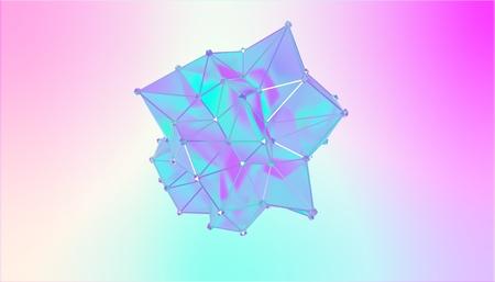 Illustration of a shape metamorphosis of a polygonal semi transparent model. Multicolor 3D illustration of a polygonal 3D blot. Blue, cyan and violet colors Stock Photo