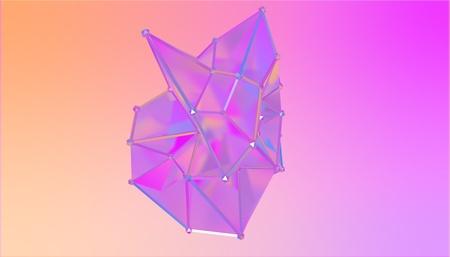illustration of a shape metamorphosis of a polygonal semi transparent model. Multicolor polygonal 3D blot