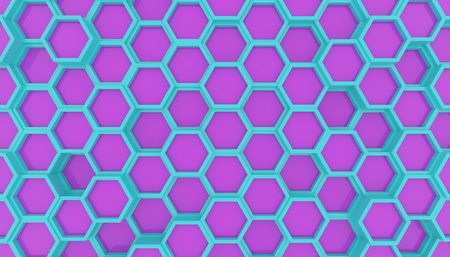 Illustration design of geometric hexagon surface. Grid pattern of waving hexagones. Cyan and Violet colors Stock fotó