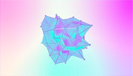 Illustration of a shape metamorphosis of a polygonal semi transparent model. Multicolor 3D illustration of a polygonal 3D blot. Blue, cyan and violet colors.