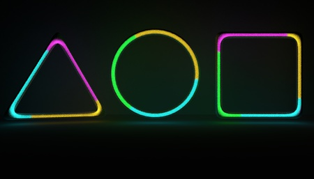 Neon shapes with gas noice inside. 3D illustration gas tubes with multicolor gas Stock fotó