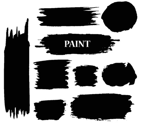 Set of Black ink vector paint stains.