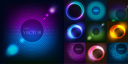 Huge set of glowing rounds with glitter. Abstract colored shape for your business idea. Vector editable logo background illustration. Ilustração