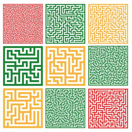 Set of colorful mazes. Illusztráció