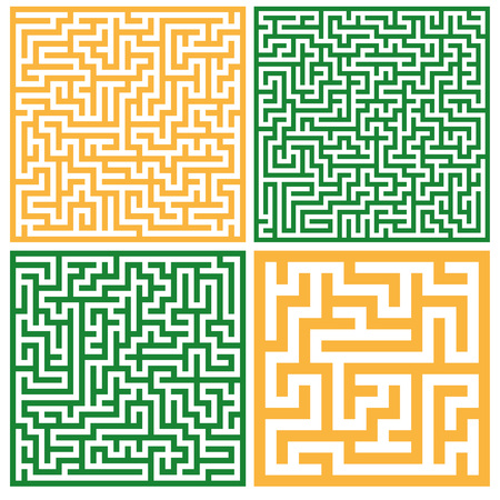 Set of colorful mazes