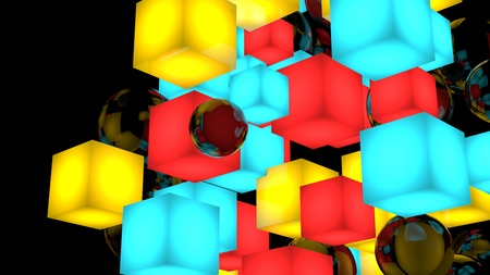 Background composition with cubes and spheres. 3D render Illustration. Isolated on black.