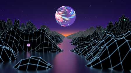 Hipster game from 80s cyber futuristic illustration. Digital oldschool game landscape wave image with moon and space mountains. Laser grid on terrain surface moving in a cyber world. 3d render illustration. Imagens