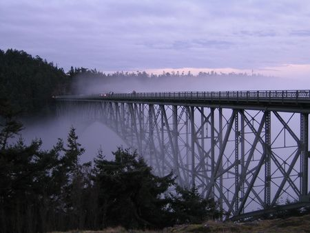 Deception pass in a fog Stock Photo