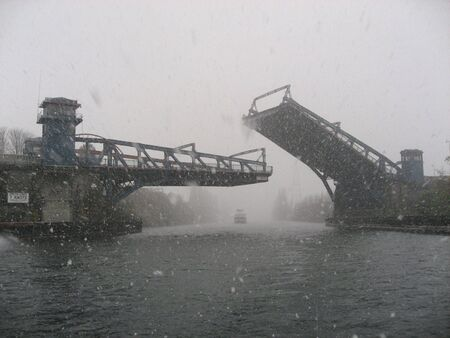 Seattles Fremont Bridge on a snowy day