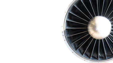 Jet engine of an airplane. Turbine blades. Vintage mechanics
