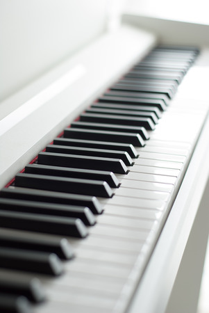 melodic: Piano keys. Piano playing. Black and white keys. Electronic piano. Musical instrument.