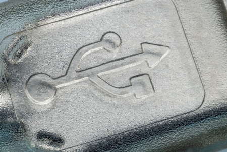 The USB symbol on the connector (close-up) Banco de Imagens