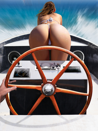 Hand on the steering wheel. Fanny, bikini. The girl bent down. Speed