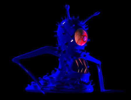 The monster a microbe, a virus  3D a drawing,3D Max Studio photo