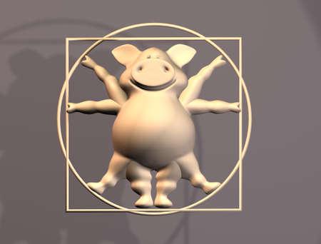 Pig Proportions - Vitruvius animal  3D  photo