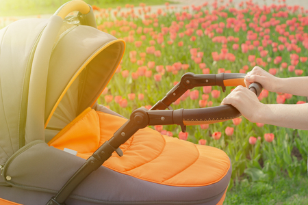 a young mother is walking with a baby stroller in a summer park on a sunny day Stock Photo