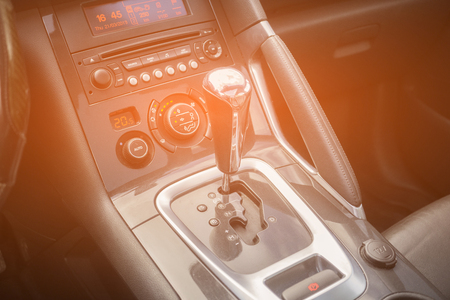 automatic gear parked inside modern vehicle car automobile