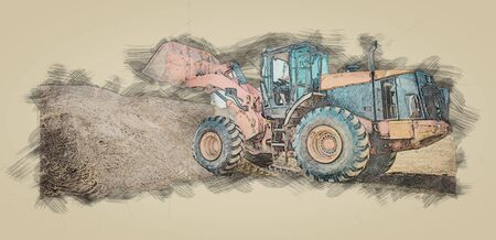 Skizze des gelben Baggers auf einer Baustelle. Radlader am Sandkasten bei Erdbewegungsarbeiten Standard-Bild