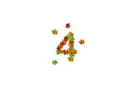 Number four made with autumn leaves isolated on white. Fall concept. Organic digits from 0 to 9.