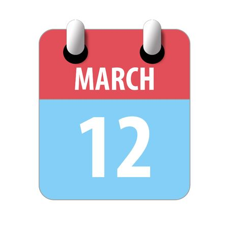 march 12th. Day 12 of month, Simple calendar icon on white background. Planning. Time management. Set of calendar icons for web design. spring month, day of the year concept. Stock fotó
