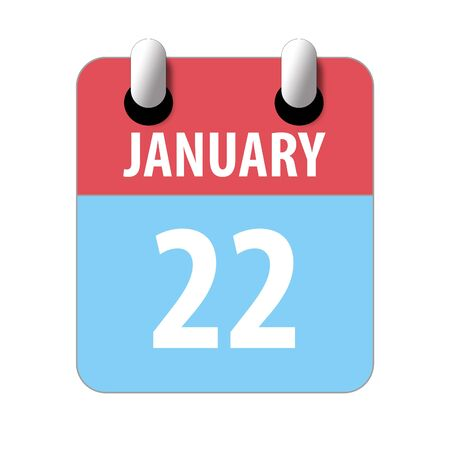 january 22nd. Day 22 of month, Simple calendar icon on white background. Planning. Time management. Set of calendar icons for web design. winter month, day of the year concept.