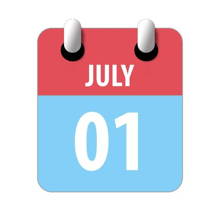 july 1st. Day 1 of month, Simple calendar icon on white background. Planning. Time management. Set of calendar icons for web design. summer month, day of the year concept.