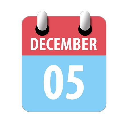 december 5th. Day 5 of month, Simple calendar icon on white background. Planning. Time management. Set of calendar icons for web design. winter month, day of the year concept.