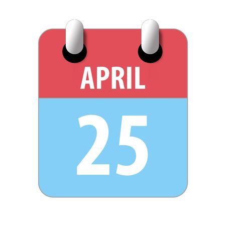 april 25th. Day 25 of month, Simple calendar icon on white background. Planning. Time management. Set of calendar icons for web design. spring month, day of the year concept.