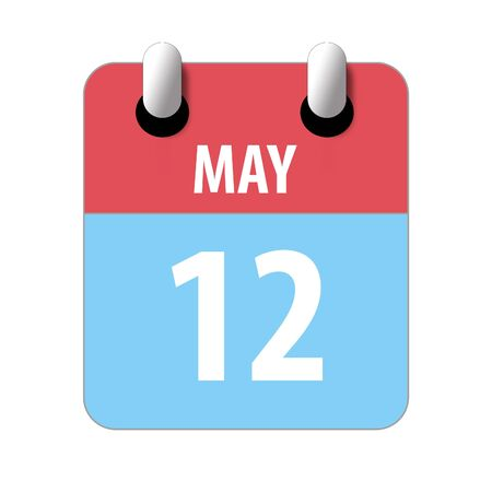 may 12th. Day 12 of month, Simple calendar icon on white background. Planning. Time management. Set of calendar icons for web design. spring month, day of the year concept.