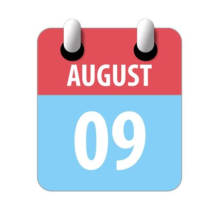 august 9th. Day 9 of month, Simple calendar icon on white background. Planning. Time management. Set of calendar icons for web design. summer month, day of the year concept.