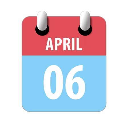 april 6th. Day 6 of month, Simple calendar icon on white background. Planning. Time management. Set of calendar icons for web design. spring month, day of the year concept.