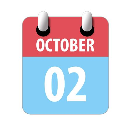 october 2nd. Day 2 of month, Simple calendar icon on white background. Planning. Time management. Set of calendar icons for web design. autumn month, day of the year concept. 스톡 콘텐츠