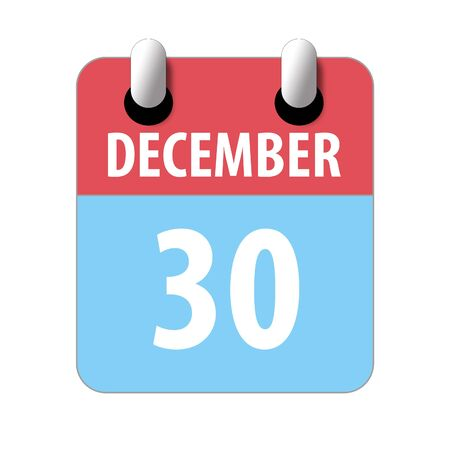 december 30th. Day 30 of month, Simple calendar icon on white background. Planning. Time management. Set of calendar icons for web design. winter month, day of the year concept.