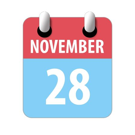 november 28th. Day 28 of month, Simple calendar icon on white background. Planning. Time management. Set of calendar icons for web design. autumn month, day of the year concept.