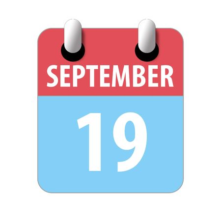 september 19th. Day 19 of month, Simple calendar icon on white background. Planning. Time management. Set of calendar icons for web design. autumn month, day of the year concept.