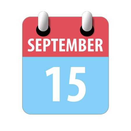 september 15th. Day 15 of month, Simple calendar icon on white background. Planning. Time management. Set of calendar icons for web design. autumn month, day of the year concept.