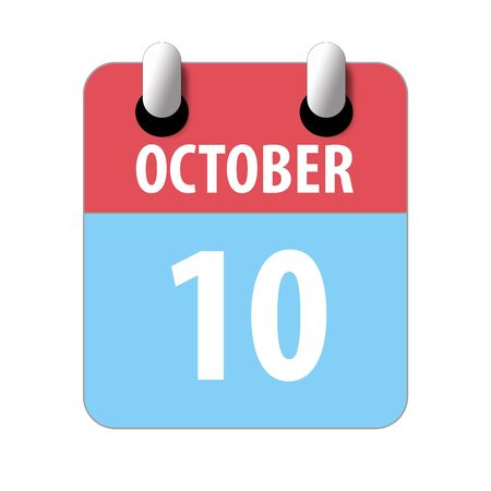 october 10th. Day 10 of month, Simple calendar icon on white background. Planning. Time management. Set of calendar icons for web design. autumn month, day of the year concept.