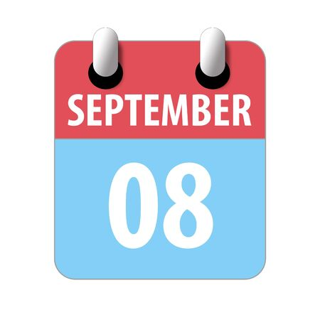 september 8th. Day 8 of month, Simple calendar icon on white background. Planning. Time management. Set of calendar icons for web design. autumn month, day of the year concept.