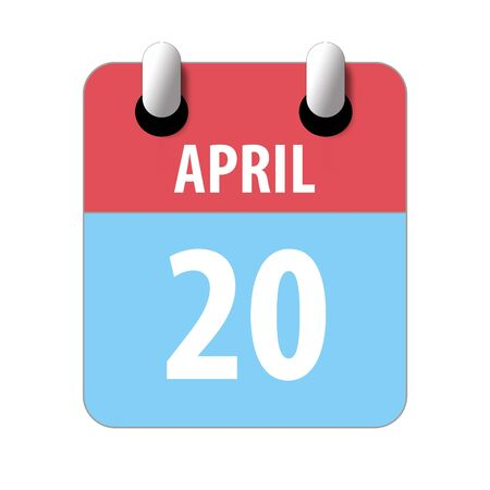 april 20th. Day 20 of month, Simple calendar icon on white background. Planning. Time management. Set of calendar icons for web design. spring month, day of the year concept. 스톡 콘텐츠