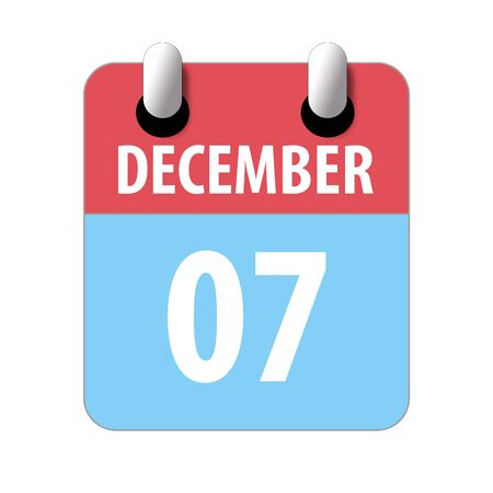 december 7th. Day 7 of month, Simple calendar icon on white background. Planning. Time management. Set of calendar icons for web design. winter month, day of the year concept.