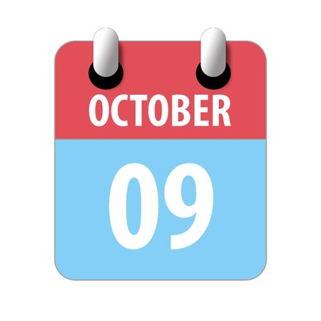 october 9th. Day 9 of month, Simple calendar icon on white background. Planning. Time management. Set of calendar icons for web design. autumn month, day of the year concept. Reklamní fotografie