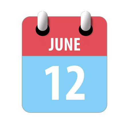 june 12th. Day 12 of month, Simple calendar icon on white background. Planning. Time management. Set of calendar icons for web design. summer month, day of the year concept.
