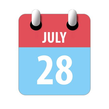 july 28th. Day 28 of month, Simple calendar icon on white background. Planning. Time management. Set of calendar icons for web design. summer month, day of the year concept.