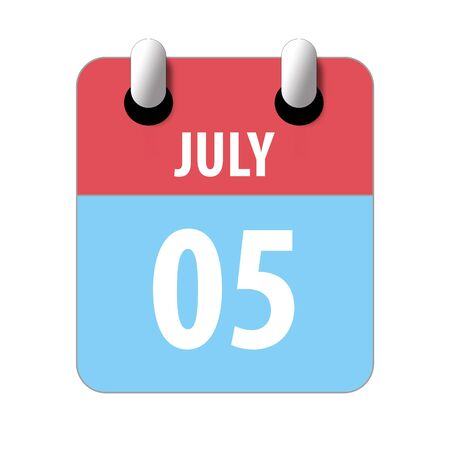 july 5th. Day 5 of month, Simple calendar icon on white background. Planning. Time management. Set of calendar icons for web design. summer month, day of the year concept.