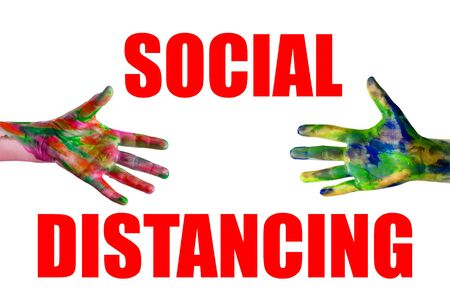 Social distancing and contact-less greetings. Two hands reaching to touch one another. Public health concept. 스톡 콘텐츠