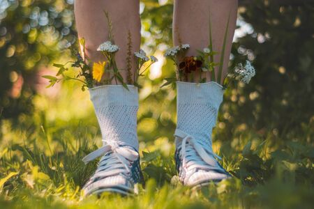 women's feet in socks they are inserted flowers. A young girl is standing in socks with flowers. Flowers from socks