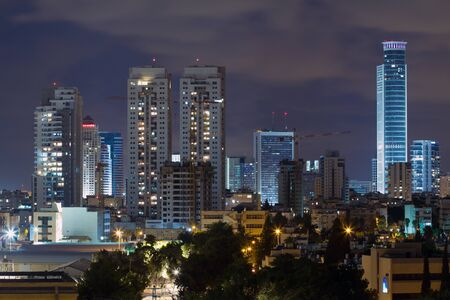 Ramat Gan city at night. Central business district.